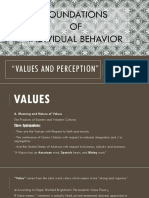 VALUES AND PERCEPTION