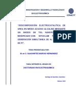 Descomposición Electrocatalítica de Urea en Medio Acuoso Alcalino Mediante Un Ánodo de Ti02 Nanoparticulado Modificado Con Ni(II)Ciclam y Electrogeneración Simultánea de H2 en Cát
