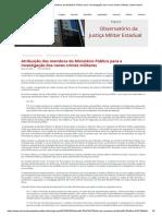 Atribuição Dos Membros Do Ministério Público Para a Investigação Dos Novos Crimes Militares _ Observatorio
