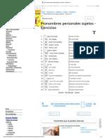 Pronombres Personales Sujetos - Ejercicios - Inglés A1 】
