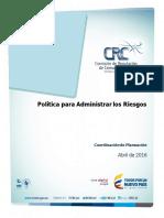 Política de Administración Del Riesgo CRC 2016 (08062016)