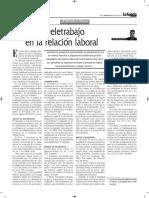 El Teletrabajo en La Relación Laboral - Autor José María Pacori Cari