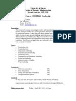 2009-10 Second Semester Course Outline