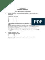 Assignment I OS II Algorithms