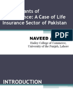 Determinants of Performance a Case of Life Insurance Sector of Pakistan