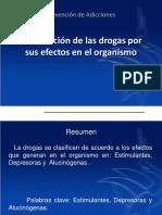 clasificación de las drogas por su efecto en el organismo