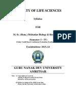 Msc Hons Molecular Biology and Bio Chemistry Semester i to IV Cbcegs