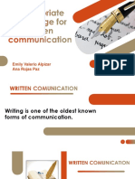 appropriate language for written communication