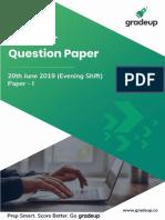 20 June 2019 Question Paper Evening Shift 68