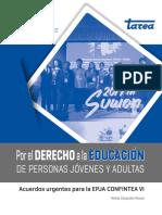 Por el Derecho a la Educación de Personas Jóvenes y Adultas. Acuerdos urgentes para la EPJA Confitea VI. Nélida Céspedes