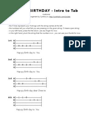 Happy Birthday Intro To Tab Ukulele Chord Chart 1 Pdf