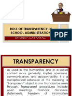 My Report Role of Transparency in School Administration