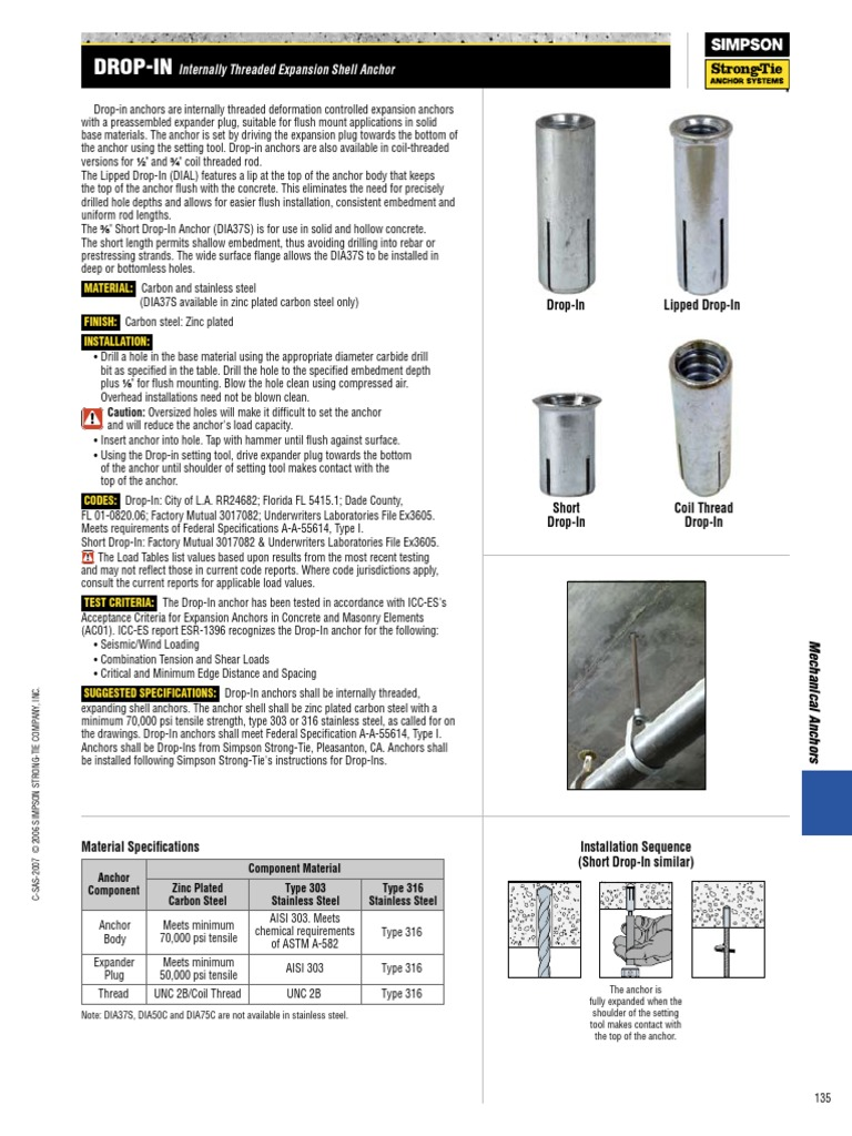 """DIAL25 Simpson Anchors DIAST25 1//4/"""" Drop-In Anchor Setting Tool for DIA25"""