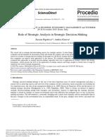 Role of Strategic Analysis in Strategic Decision-M