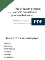 The Influence of Loyalty Program Membership on Customer Purchase Behaviour