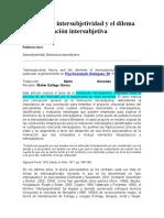 Teoría de La Intersubjetividad y El Dilema de La Motivación Intersubjetiva