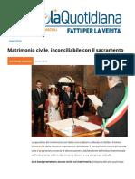 """""""Matrimonio"""" civile, inconciliabile con il sacramento"""