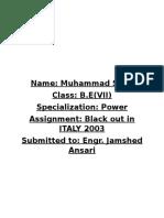 Italy Blackout 2003