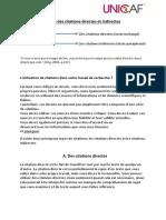 Guide Des Citations Directes Et Indirectes de l'UNICAF