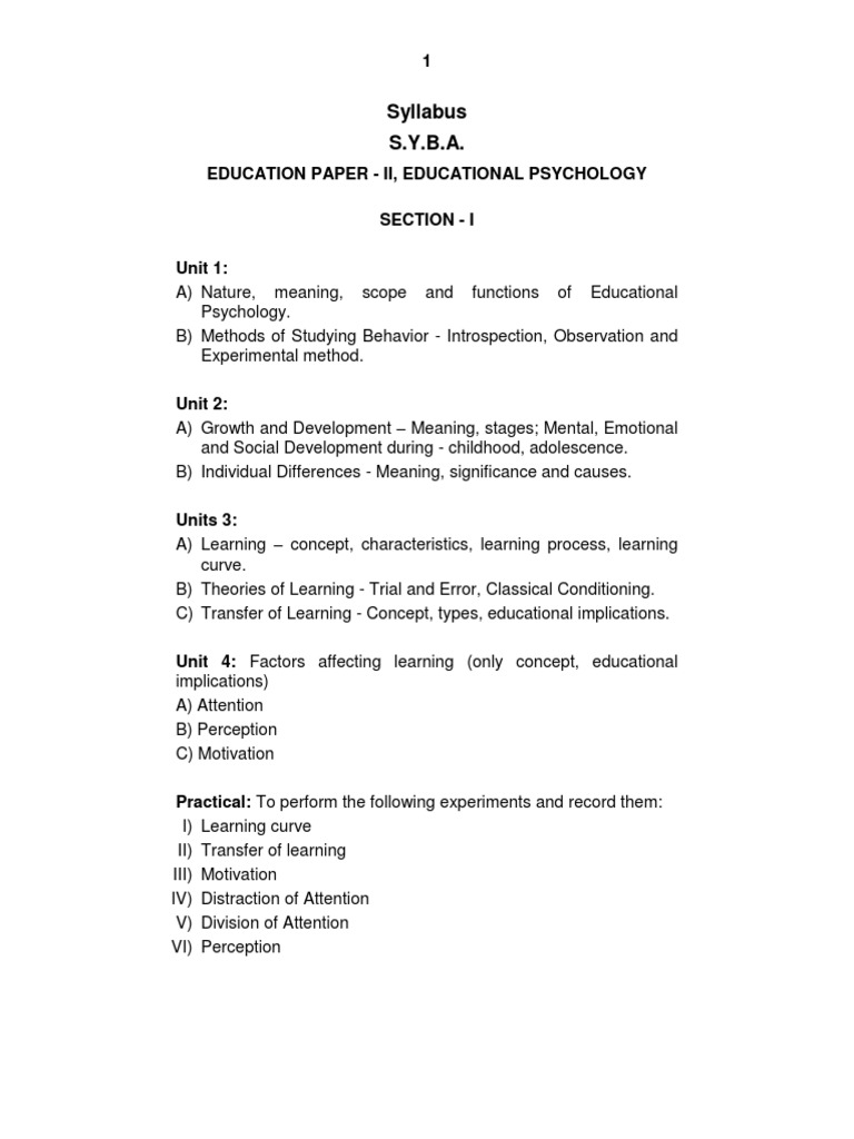 S Y B A Education Paper II Educational Psychology Eng