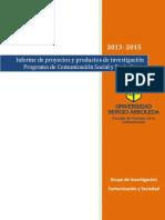 Informe de Investigación Comunicacion y Sociedad 2015