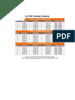 2019 Training Schedule