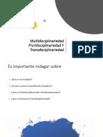 Multidisciplinariedad – pluridisciplinariedad - transdisciplinariedad