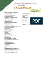 Lista de Utiles 2016 Yacusisa