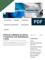 Tipos de Tuberías de Metal y Plásticas_ Sus Materiales y Usos