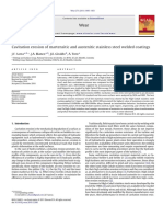 Cavitation Erosion of Martensitic and Austenitic Stainless Steel Welded Coatings