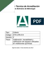 Calibración, Trazabilidad y Calificación de Equipos Utilizados en Mediciones Químicas