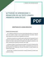 Actividad de Aprendizaje 3. Redacción de Un Texto Usando Párrafos Específicos