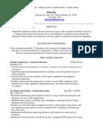 Sample Resume 2 - Construction Resume