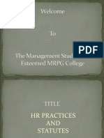 Ppt on Hr Practices & Statutes