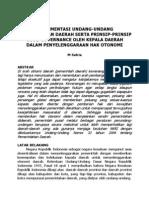 Implementasi UU Pemerintahan Daerah Serta Prinsip-prinsip Good Governance Oleh Kepala Daerah Dalam Penyelenggaraan Hak Otonomi