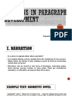 Patterns in Paragraph Development
