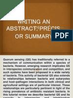 Writing an Abstract, Précis, Or Summary