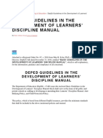 DEPEd Guidelines in the Development of Student Discipline Manuals