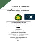 Factores determinantes del emprendimiento Pyme en el distrito de Tarma, Periodo 2013