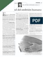 La dignidad del embrión humano.