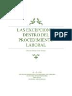 Las Excepciones Dentro Del Procedimiento Laboral