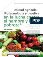 Biodiversidad agrícola,Biotecnologías y Bioética en la lucha contra el hambre y la pobreza