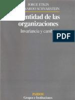 Identidad de Las Organizaciones Invariancia y Cambio Etkin y Schvarstein