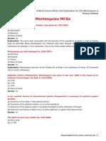 Political Science MCQs With Explanation for CSS (Montesquieu & Thomas Hobbes)