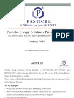 Pastiche Energy Solutions (P) Ltd - Brief Company Profile (July 2019)