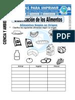 Ficha de Clasificacion de Los Alimentos Para Segundo de Primaria