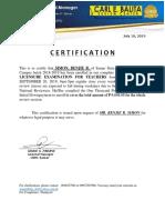CBRC Certificate