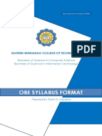 ICT Doc 9 Series of 2018 - OBE Syllabus Format a.Y 2018-2019