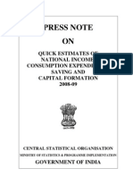 QUICK ESTIMATES OF NATIONAL INCOME, CONSUMPTION EXPENDITURE, SAVING AND CAPITAL FORMATION 2008-09 CENTRAL