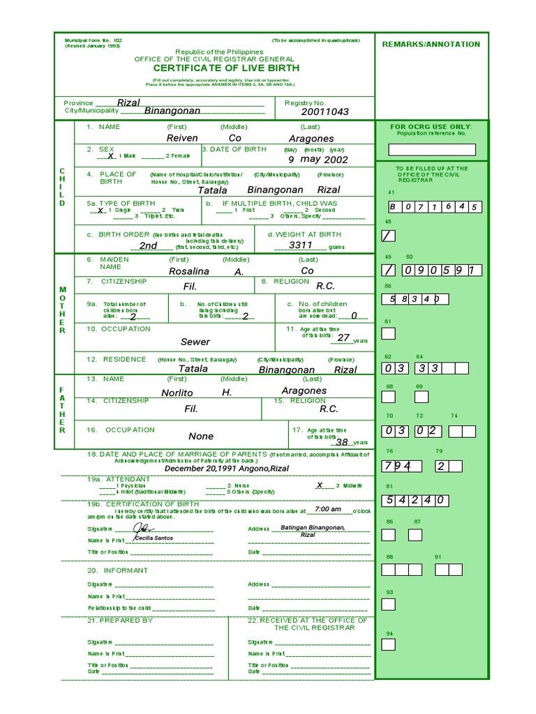 birth certificate philippines form